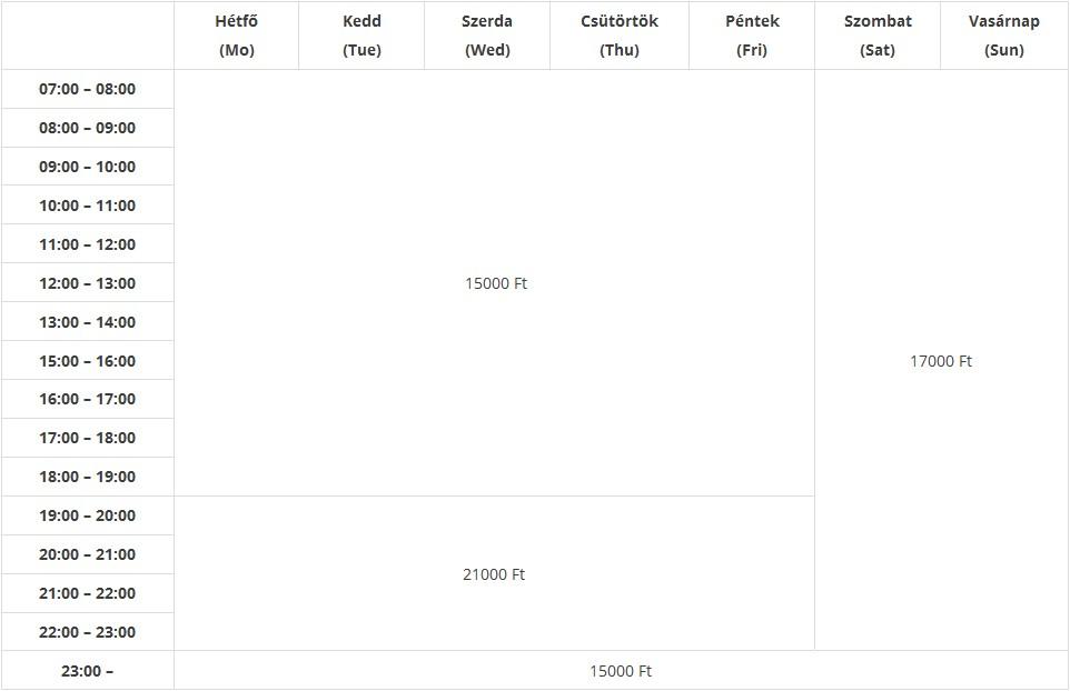 Budai Jégpálya pályabérleti díjak és árak